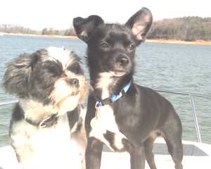 Annie and her boyfriend, Booger, on the boat.
