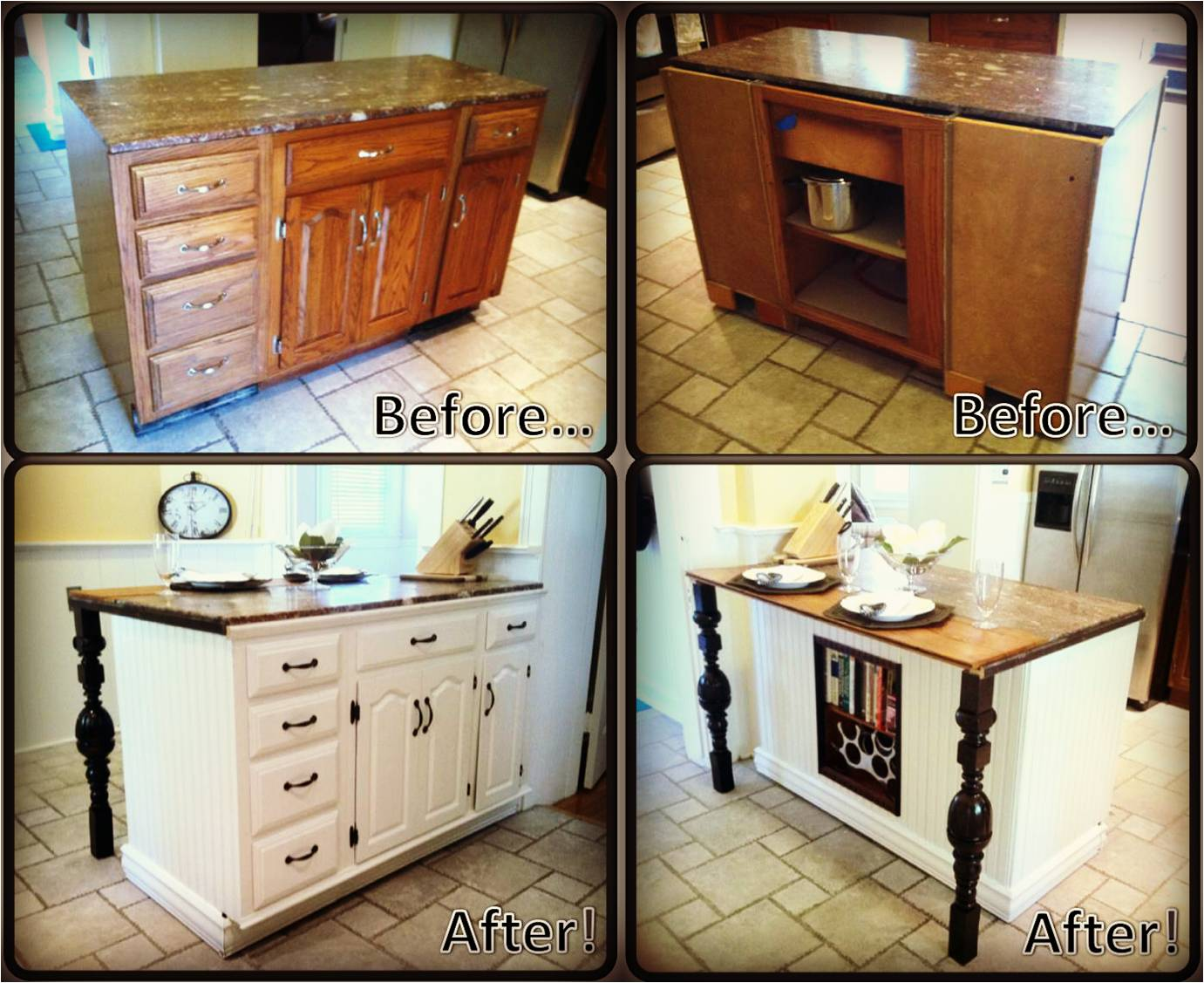 Diy kitchen island renovation pieces of me for Build kitchen island with cabinets
