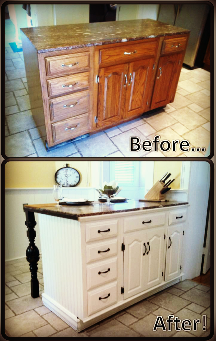 Diy kitchen island renovation pieces of me for Kitchen island cabinets
